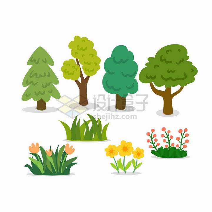 卡通大树草丛花丛小花等png图片免抠矢量素材