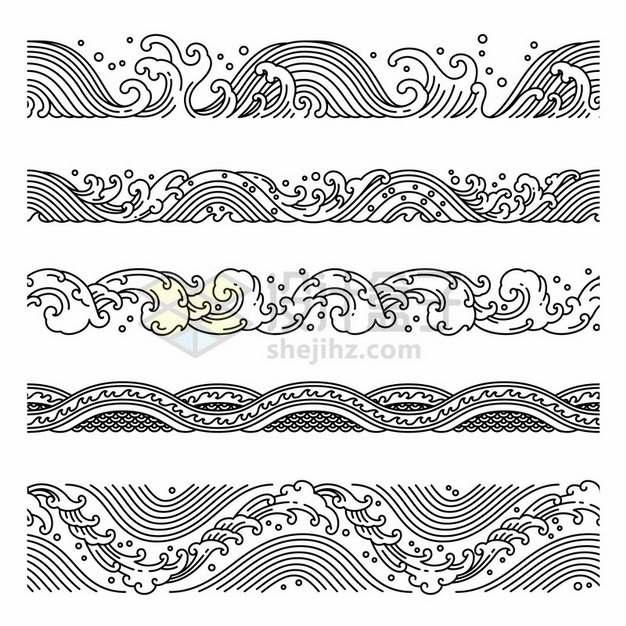 5款中国风黑色线条波浪海浪浪花图案621672png图片素材