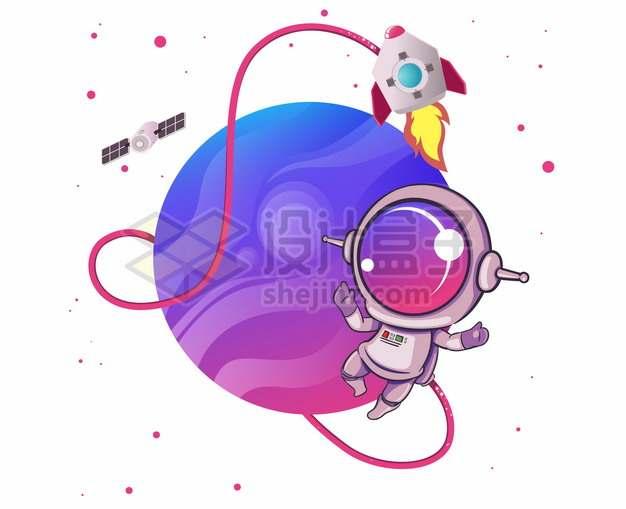 走出宇宙飞船的卡通宇航员和紫色星球png图片素材