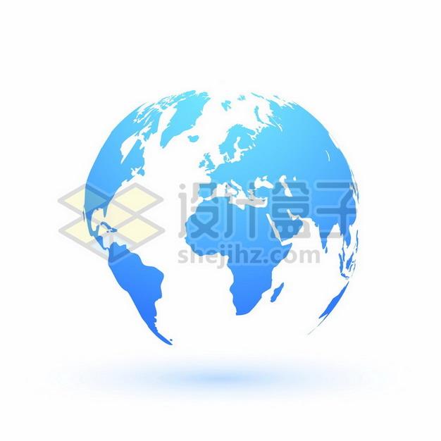 蓝色渐变色的地球模型世界地图811070png矢量图片素材 科学地理-第1张
