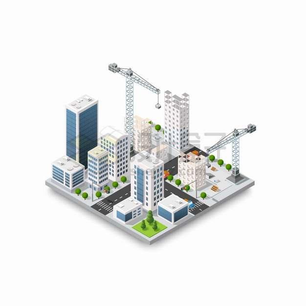 2.5D风格城市建筑街道和建设中的塔吊png图片素材
