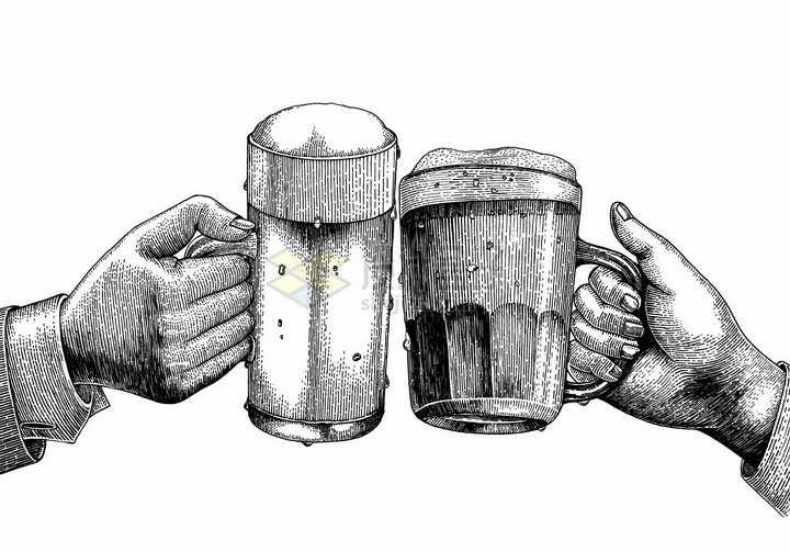 干杯两只手拿着啤酒杯手绘素描插画png图片免抠矢量素材