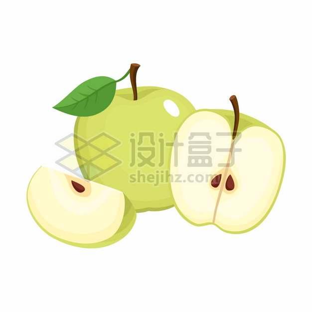切开的青苹果美味水果扁平插画png图片素材