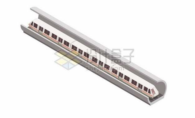 3D风格在隧道中行驶的地铁列车495927png图片素材