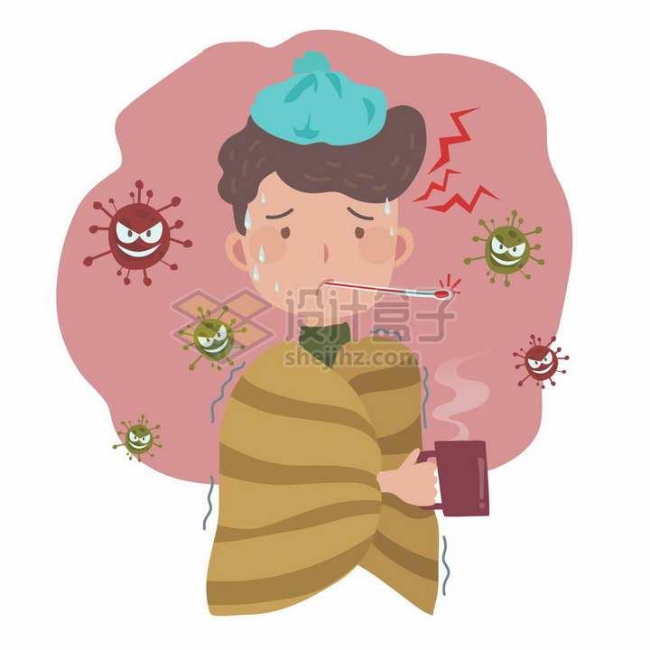 可怜的卡通男孩嘴里含着体温计病毒感冒png图片免抠矢量素材