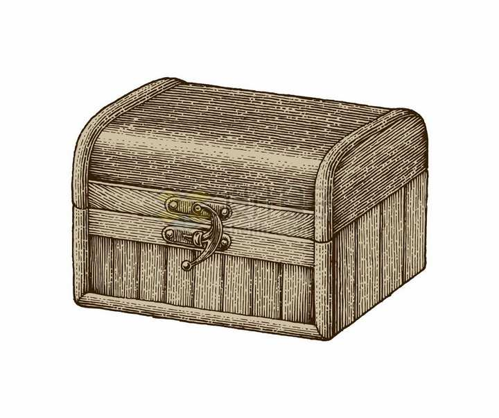 复古风格的木箱子手绘素描插画png图片免抠矢量素材
