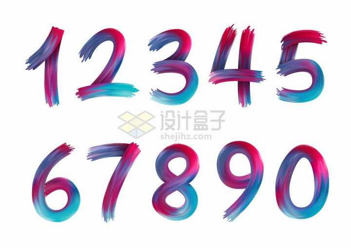 彩虹色涂鸦风格数字字体png图片免抠矢量素材