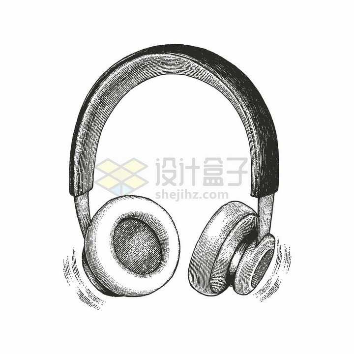 头戴式耳机手绘素描插画png图片免抠矢量素材