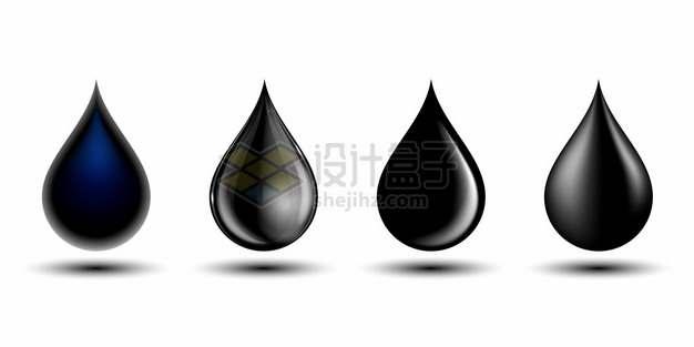 4款黑色油滴液滴水滴形状256466png图片素材