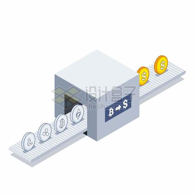 2.5D风格创意货币兑换转化机器加密虚拟货币和真实货币的交易png图片素材