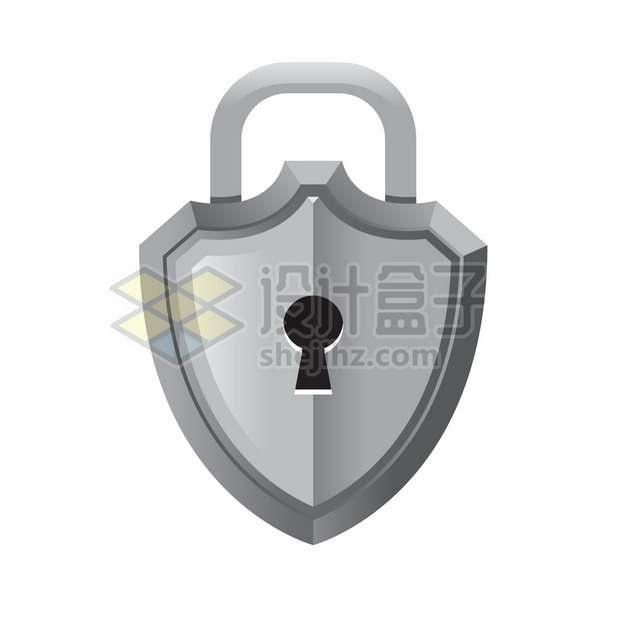 灰色盾牌形状的挂锁png图片素材