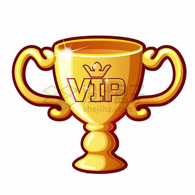 卡通漫画风格VIP金杯奖杯png图片素材