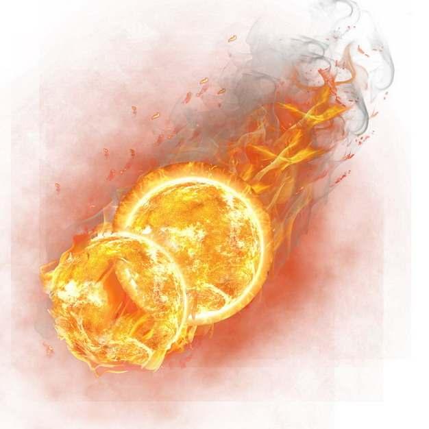 两个相撞的火球燃烧着火焰221984png图片素材