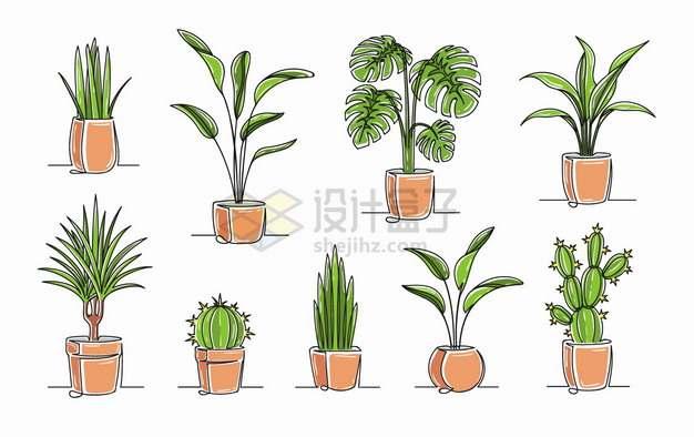 发财树仙人球等9款盆栽植物手绘插画png图片素材