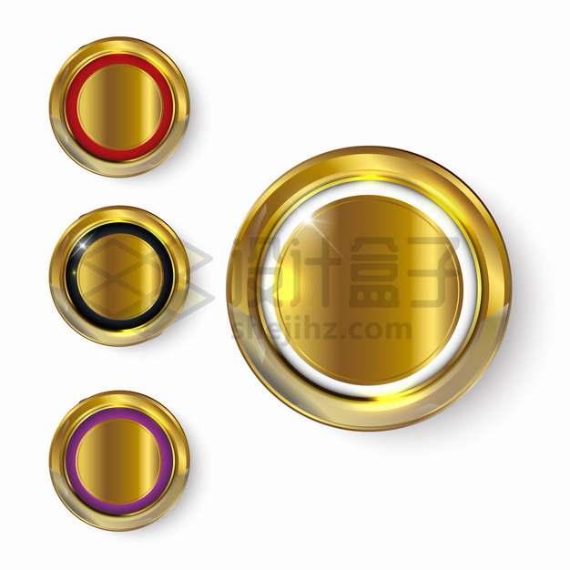 3款金色金属光泽同心圆按钮png图片素材