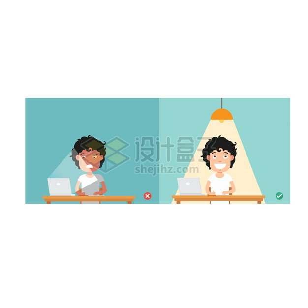 用电脑时候正确和错误的灯光照明卡通男孩插画png图片素材
