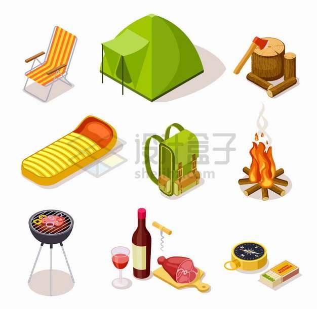 躺椅帐篷背包篝火烧烤架指南针火柴盒等野营装备png图片素材
