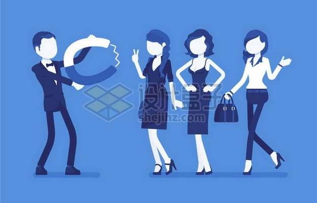 卡通男人用磁铁吸引女性象征了男性魅力274504png矢量图片素材