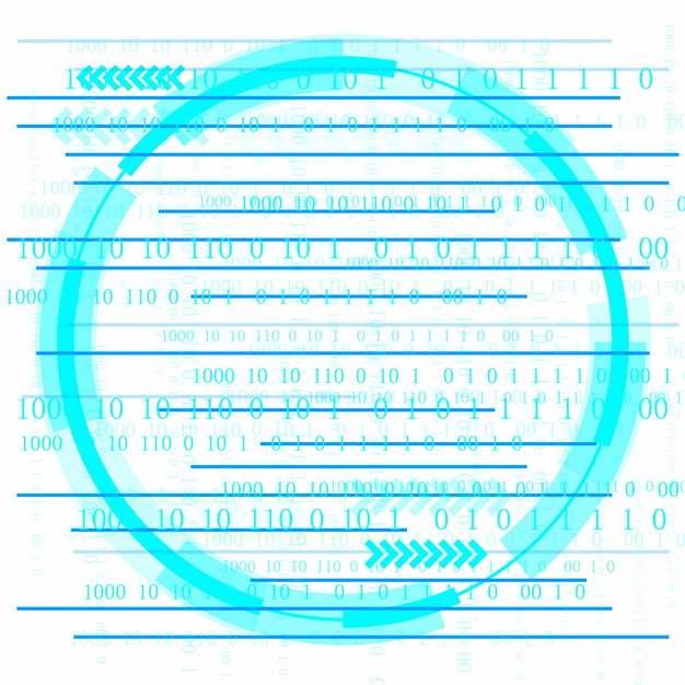 创意数字01蓝色圆形科技装饰png图片素材718081