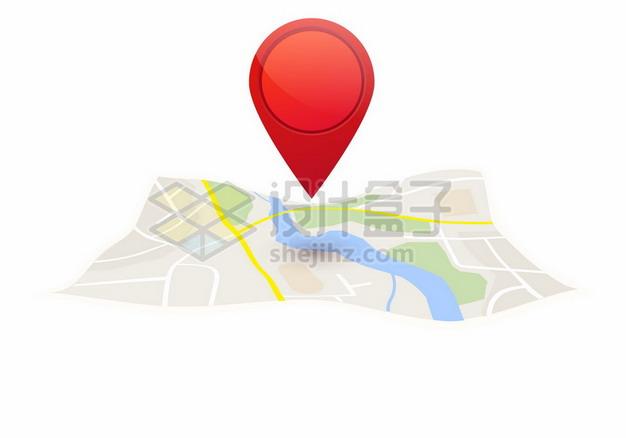 红色定位标志和地图导航元素765468png矢量图片素材 交通运输-第1张