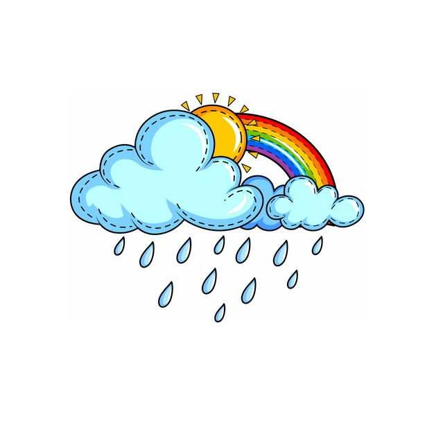 下雨的卡通乌云和躲在后面的太阳与彩虹323232png图片素材