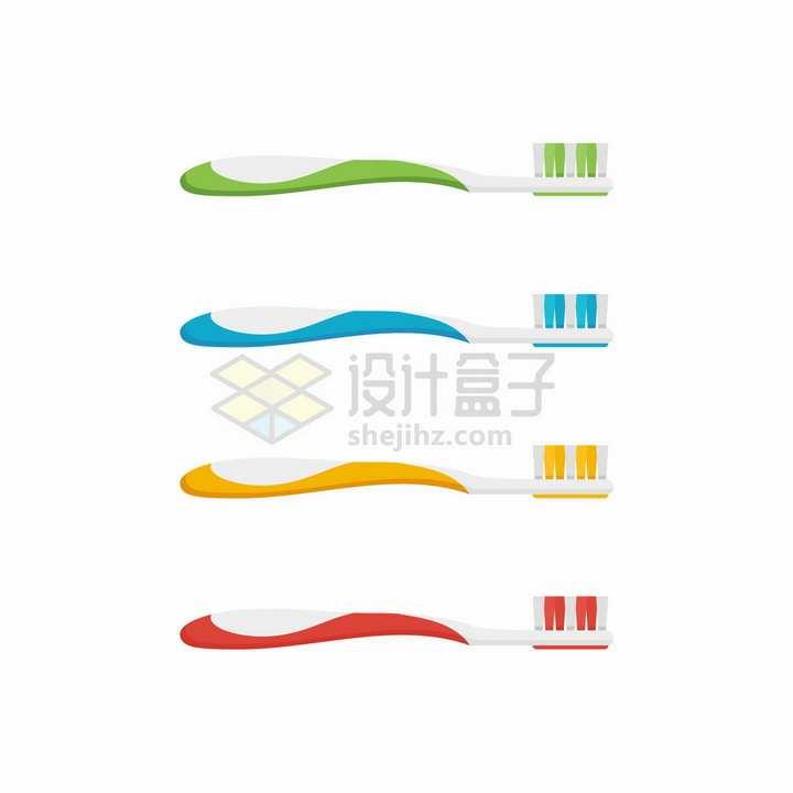 4种颜色的牙刷个人清洁用具png图片免抠矢量素材