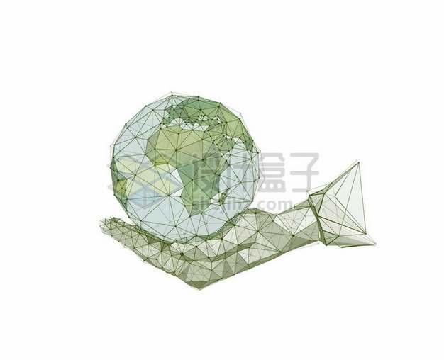 绿色多边形组成的一只手托着地球193294png图片素材