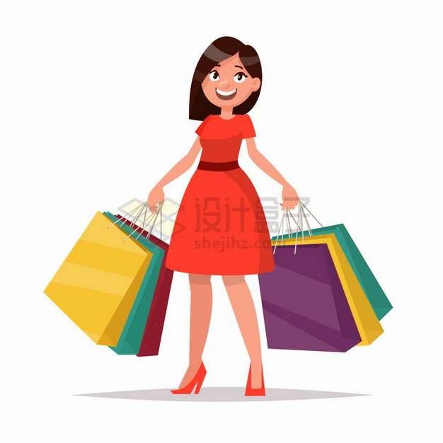 买了很多衣服的卡通女孩购物扁平插画png图片免抠矢量素材