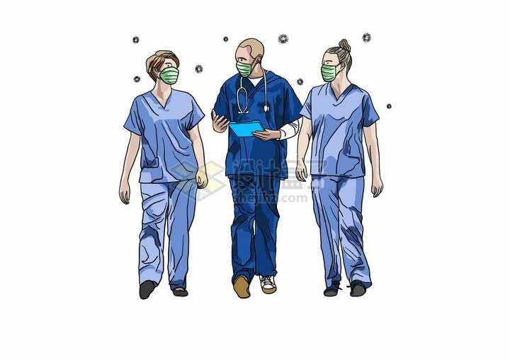 一起交谈的医生新型冠状病毒手绘插画png图片免抠矢量素材
