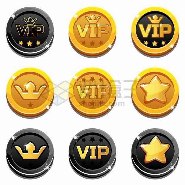 9款黑色和金色组合的卡通VIP皇冠符号硬币png图片素材