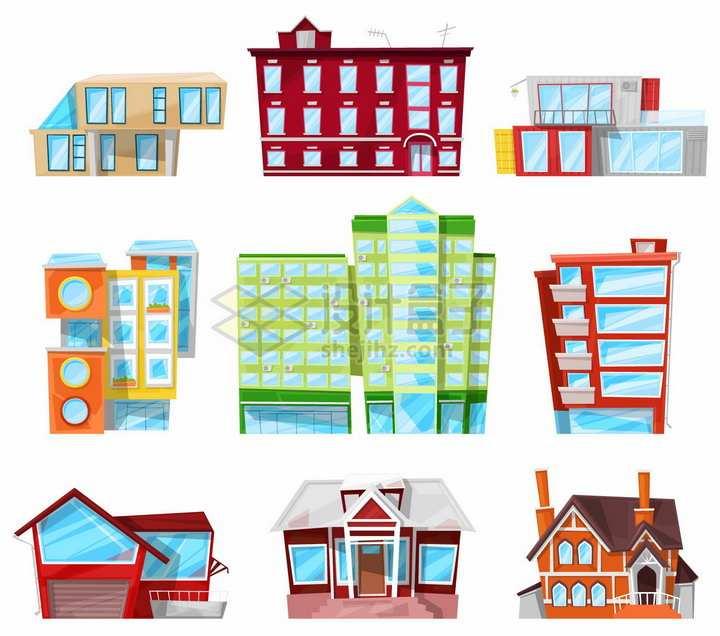 9款卡通别墅高楼大厦等建筑物房子png图片免抠矢量素材