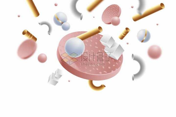 白色粉红色圆球圆盘等3D几何形状背景装饰png图片免抠矢量素材