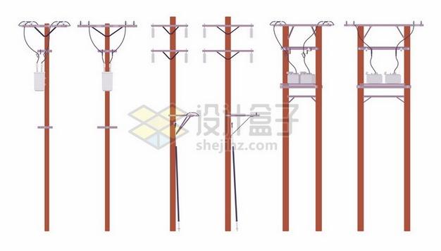 6种木头电线杆372994png矢量图片素材 工业农业-第1张