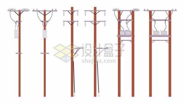 6种木头电线杆372994png矢量图片素材