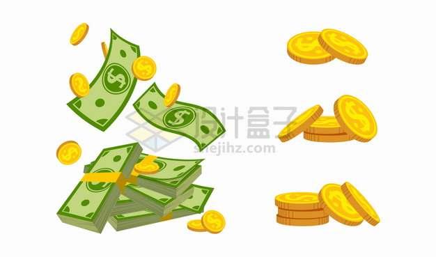 堆放在一起的金币硬币和一沓卡通美元钞票png图片素材