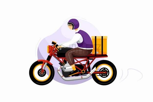 骑摩托车送货的快递员png图片素材