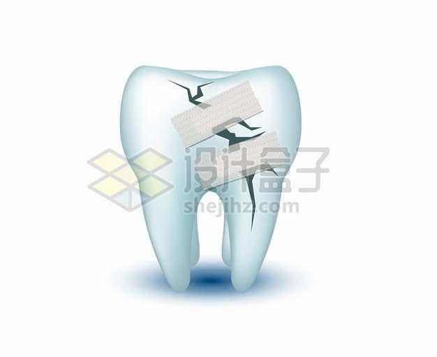 贴了创口贴的表面有裂缝的3D立体牙齿509882png矢量图片素材