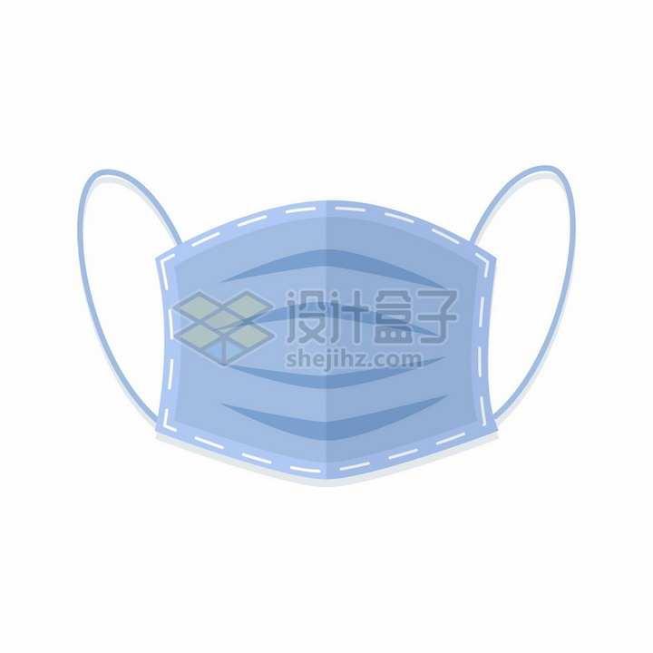 深紫色的一次性医用口罩正面扁平化风格png图片免抠矢量素材