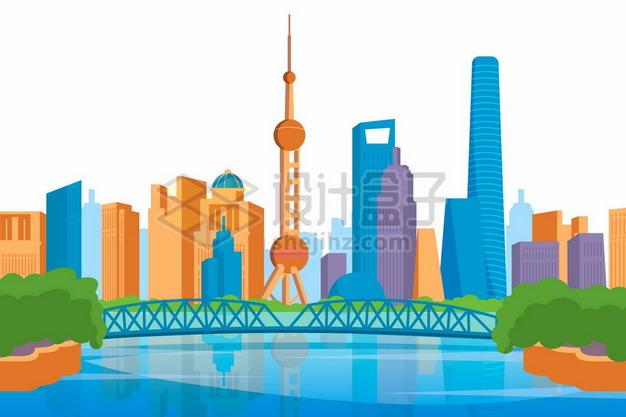 彩色卡通上海城市天际线高楼大厦建筑129844png矢量图片素材 建筑装修-第1张