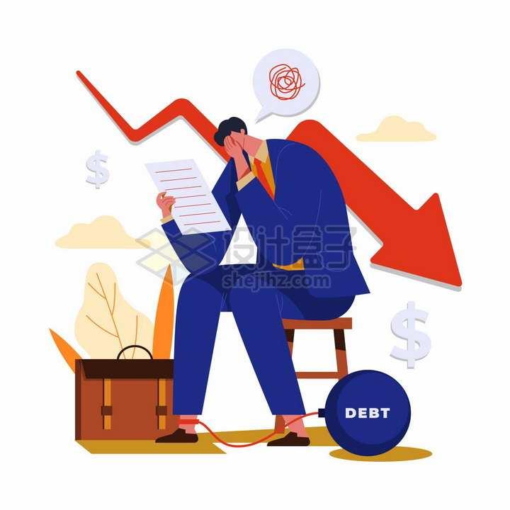 商务人士看到账单上不断下降的箭头经济危机金融危机失业png图片免抠矢量素材