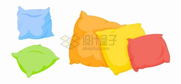 糖果色卡通羽绒枕头png图片素材