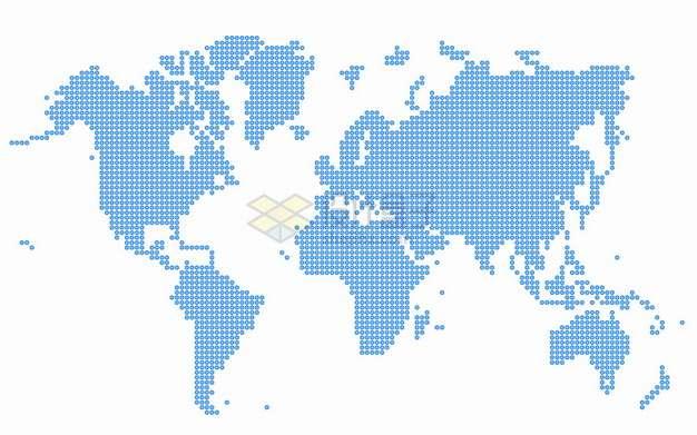 蓝色圆点组成的世界地图图案png图片素材