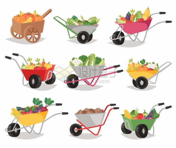 9款农场卡通小推车独轮车png图片免抠矢量素材