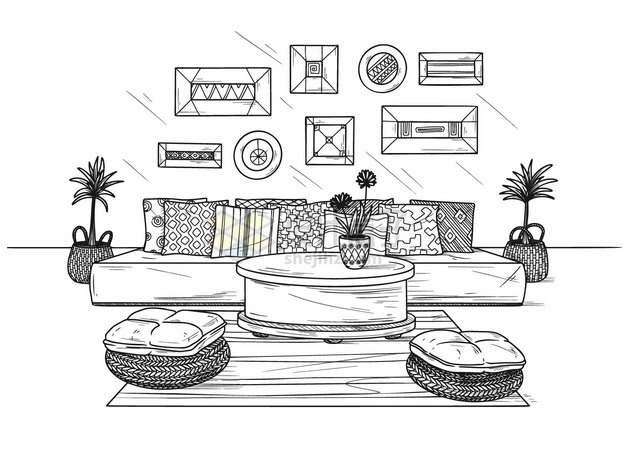 挂满壁画和沙发的客厅手绘素描插画png图片素材