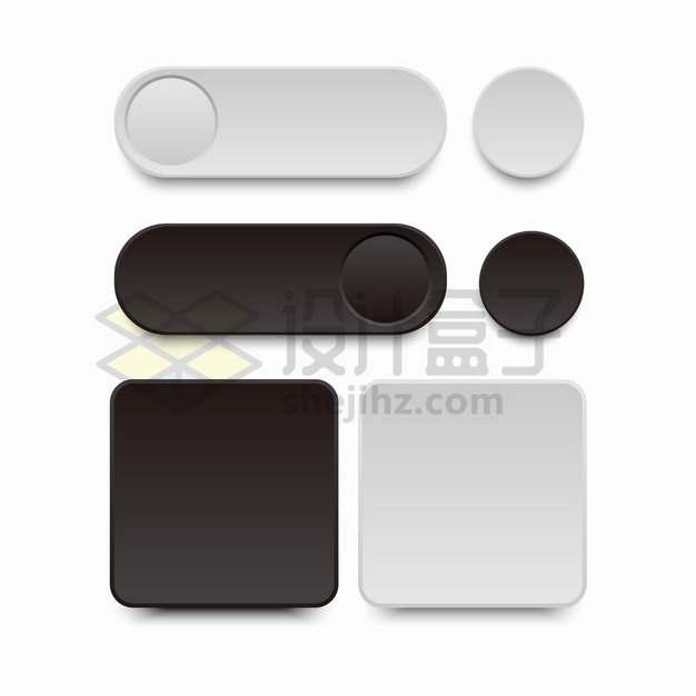白色和黑色圆形圆角组合按钮和方形按钮PPT信息图表png图片素材