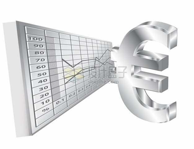 银色金属质感欧元符号和货币曲线png图片素材