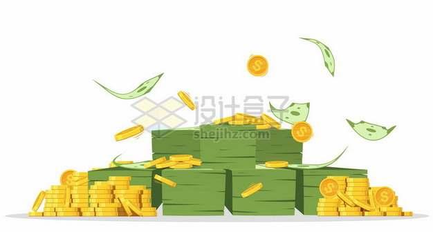 钞票雨和金币878519png图片素材