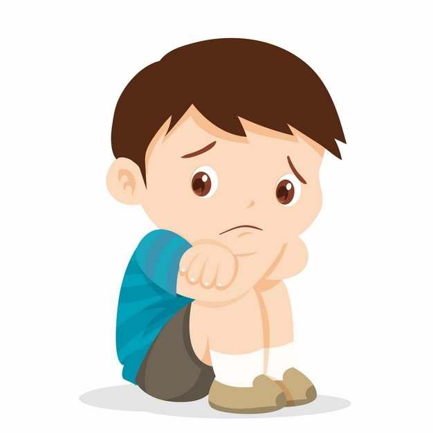 蹲在地上委屈哭泣的卡通小男孩171598png图片素材