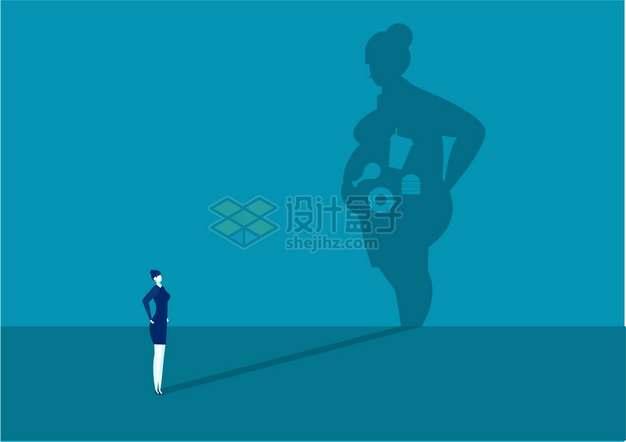 商务女士肥胖的影子里的垃圾食品减肥插画png图片素材