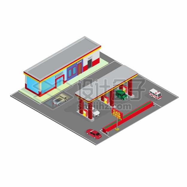 2.5D风格红色的汽车加油站建筑png图片素材